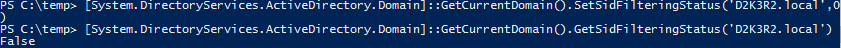Active Directory Trusts PowerShell GetCurrentDomain DisableSidFiltering