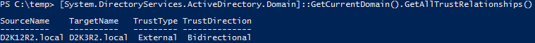 Active Directory Trusts PowerShell GetCurrentDomain GetAllTrusts