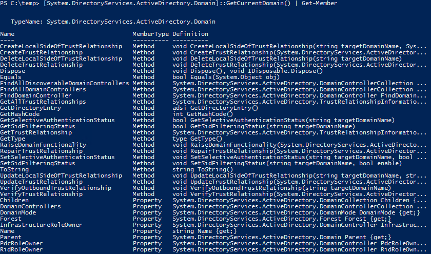 Active Directory Trusts PowerShell GetCurrentDomain Methods