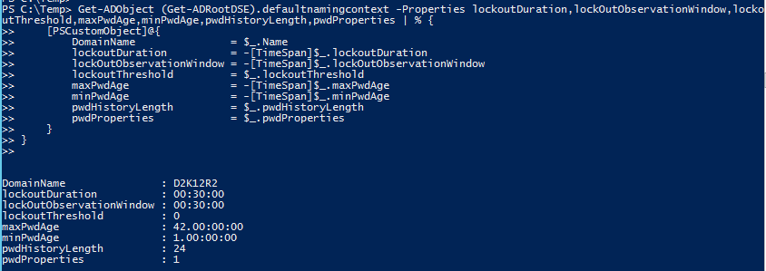 Get Domain Password Policy with PowerShell