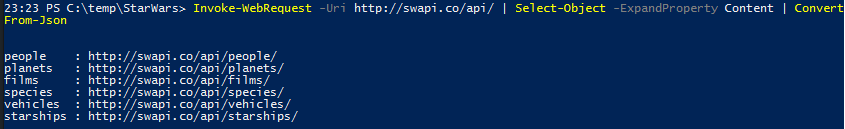Active Directory Star Wars Users - WepAPI Root