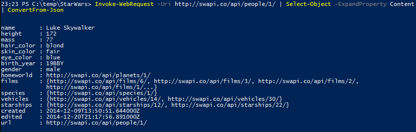 Active Directory Star Wars Users - WepAPI with PowerShell and JSON