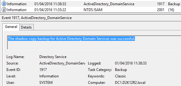 Configure Active Directory Backup - Schedule Backup 16