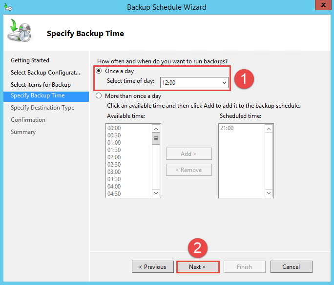 Configure Active Directory Backup - Schedule Backup 6