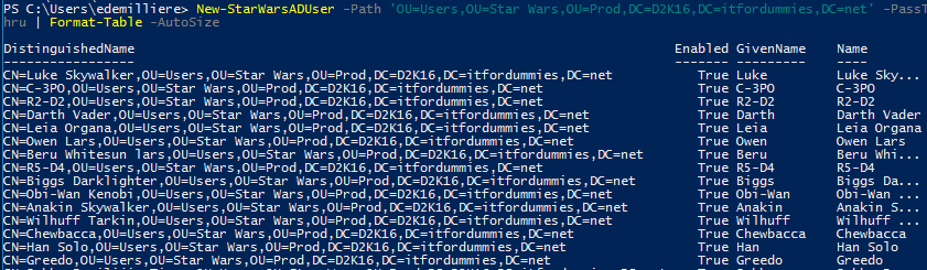 Active Directory Star Wars PowerShell Module - New-StarWarsAdUser