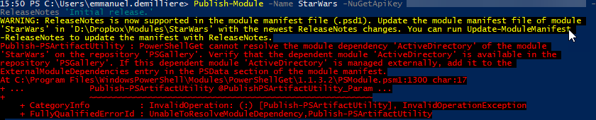 Publish Script Module PowerShell Gallery - Active Directory Module Dependency Error