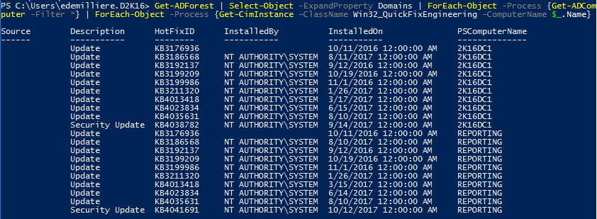 WSUS Windows Update Compliance PowerShell - All Forest