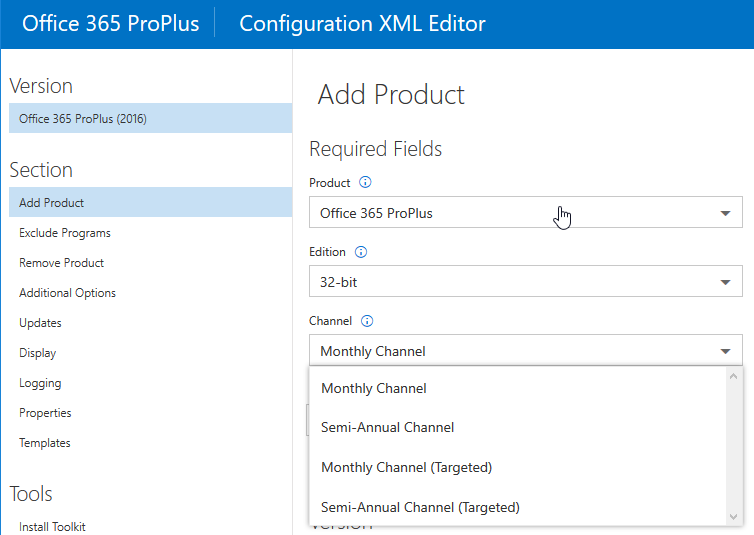 Change Office 365 Pro Plus Update Channel- Xml Editor