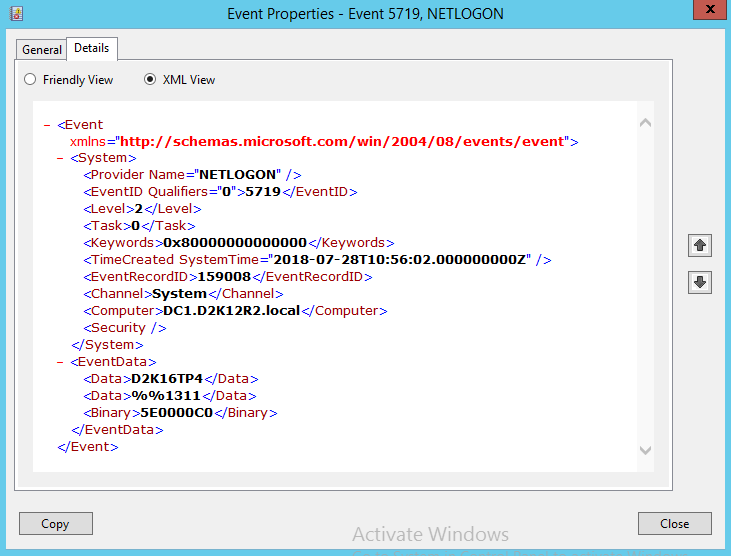 Event XML View