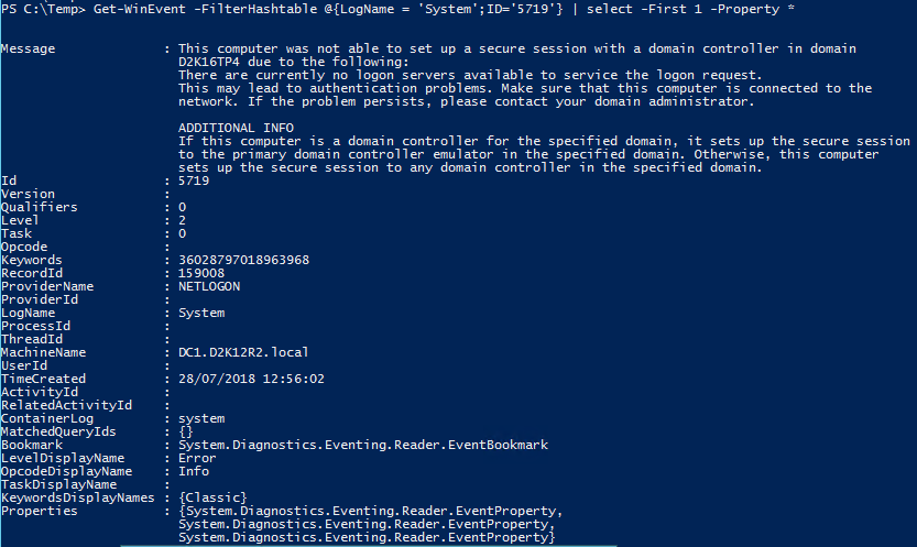 Get EventLog Event Details Content PowerShell - Event Details with PowerShell